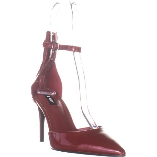 DKNY Lace Ankle Strap Pumps, Red Patent, 7.5 UK