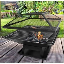 Square Fire Pit BBQ Grill Outdoor Garden Firepit Brazier Stove Patio Heater