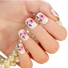Stylish and Charming Pre-designed False Nails Art for Girls, Peach Flowers