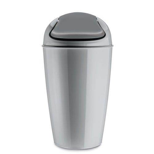 """Koziol """"DEL Swing-Top Wastebasket, Cool Grey, 30 Litre"""