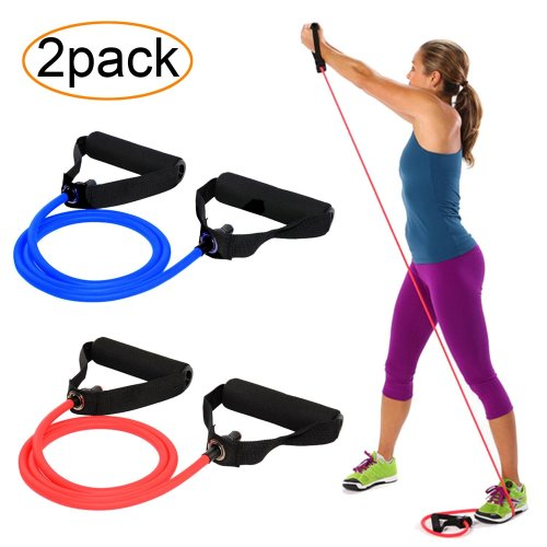 AXYSM Exercise and Resistance Bands 2 Set, Resistance Tubes with Foam Handles 2 Levels - Medium/Heavy for Pilates, Yoga, Physical Therapy, Rehab &...