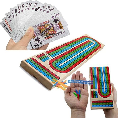 Classics Wooden Cribbage Board & Playing Cards