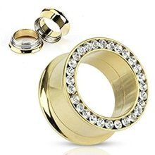 Clear Crystal Encrusted Rim Gold IP Plated Surgical Steel Screw Fit Double Flared Ear Tunnel Saddle Plug Piercing Finest Quality Materials