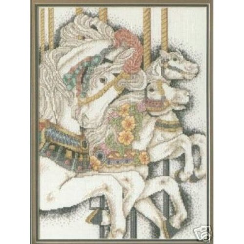 Fantasy Ride Carousel Horses Cross Stitch Chart