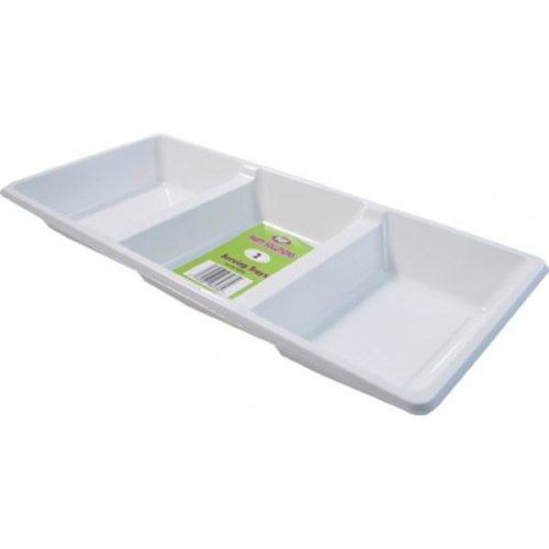 3 Compartment Disposable Plastic Serving Tray Pack Of 2 Tableware