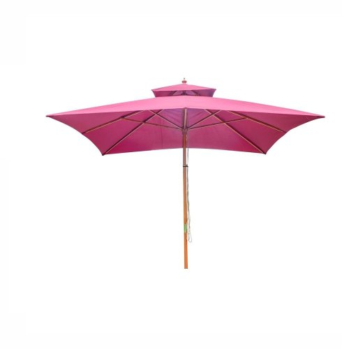 Outsunny 3m X 3m Garden Parasol Canopy Double Tier - Wine Red