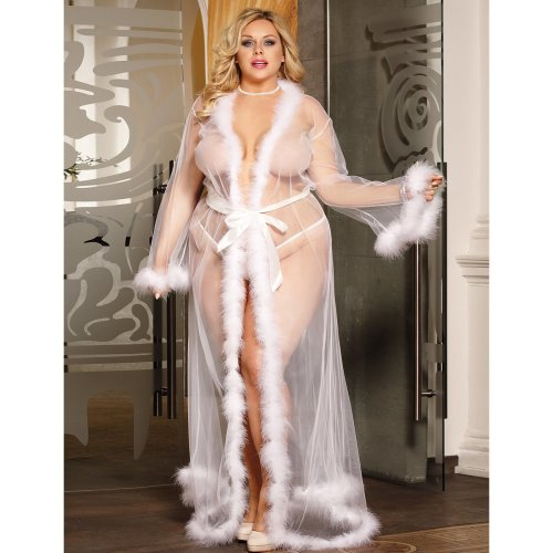 Plus Size Queen White Robe Perspective Sheer Sleepwear With Fur