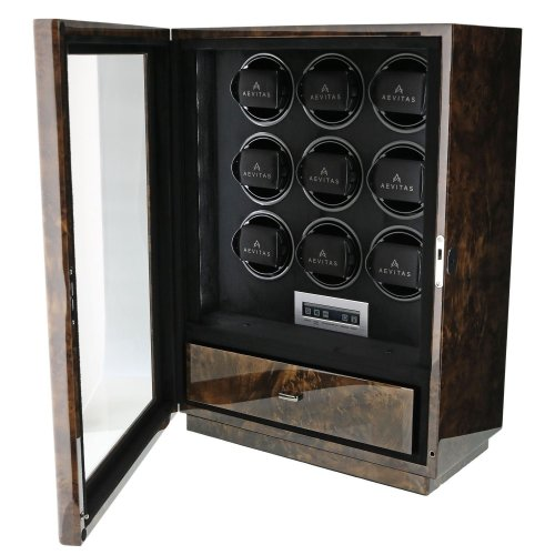 9 Watch Winder Dark Burl Wood Finish the Classic Collection by Aevitas