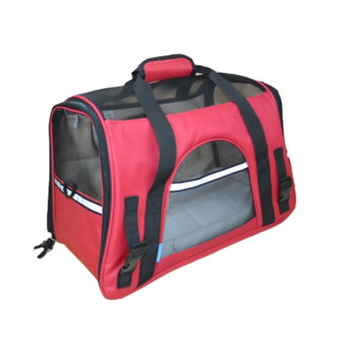 Pet Carrier Soft Sided Travel Bag for Small dogs & cats- Airline Approved, Red