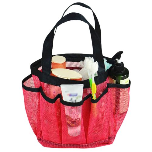 Outdoor Quick Dry Mesh Shower Accessories Tote With Double Handles-Red