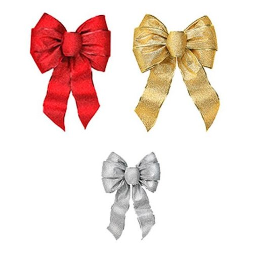 Holiday Trim 6166 Shimmering Christmas Glitters Wired Bow, Pack Of 12