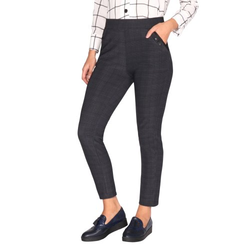 Check Stretch Pencil Trousers