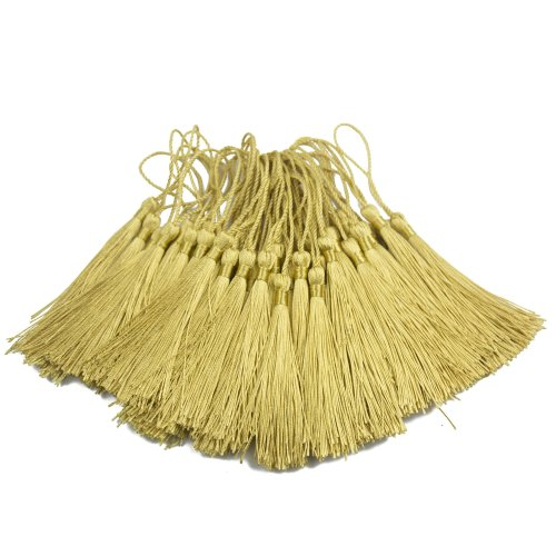 100pcs 13cm/5 Inch Silky Floss bookmark Tassels with 2-Inch Cord Loop and Small Chinese Knot for Jewelry Making, Souvenir, Bookmarks, DIY Craft...