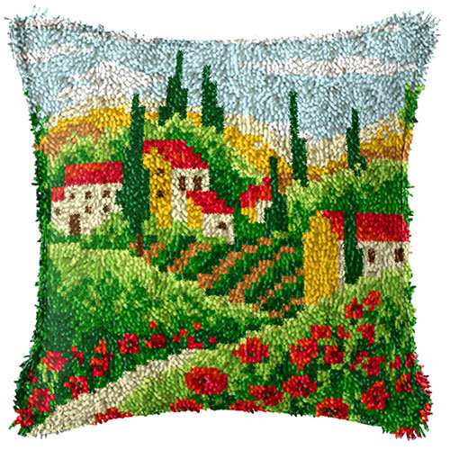 """Latch Hook Complete Cushion Cover Kit""""Summer Village"""" 43x43cm"""