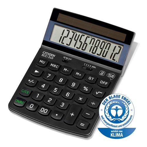 ECC-310 CITIZEN Eco Calculator Complete 12 Digit Fixed Angled Display Office