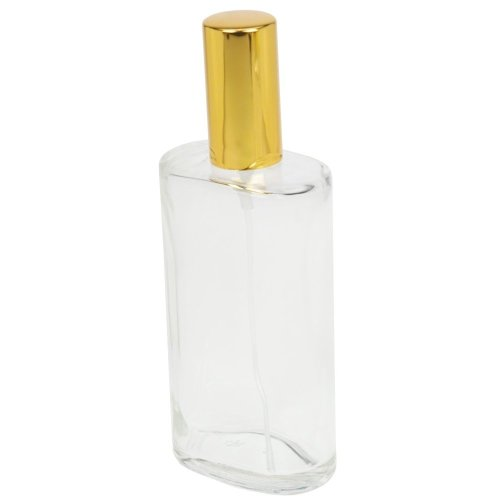 Fantasia 46196 Oval Bottle Clear Glass with Spray Pump and Cap for 100 ml Gold