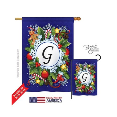 Breeze Decor 30085 Winter G Monogram 2-Sided Vertical Impression House Flag - 28 x 40 in.