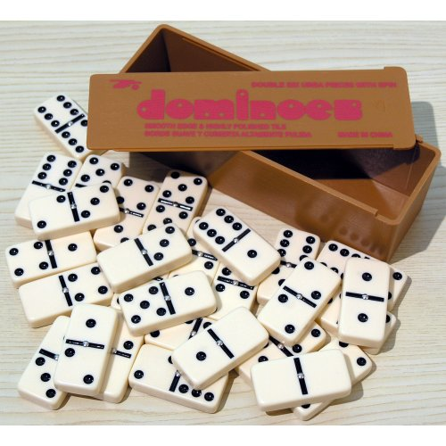 Double six dominoes with black spots & spinners 00121