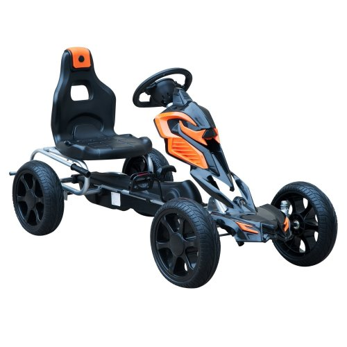 Homcom Orange Kids Ride on Pedal Go-Kart | Go-Kart with Braking System