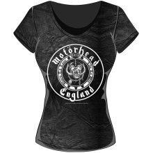 Rockoff Trade Women's England Seal Acid Wash T-shirt, Grey, X-large