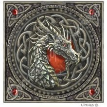Lisa Parker Dragon Blank Square Greeting Card Red Fire Birthday Christmas Pagan Wiccan Fantasy Gift