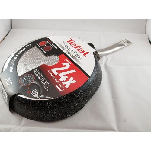 Tefal C6450642 Titanium Excel Frying Pan, Black Stone Effect 28cm Slight Damage
