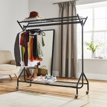 6ft  x 5ft Black Heavy Duty Hanging Clothes Rail with Shoe Rack Shelf