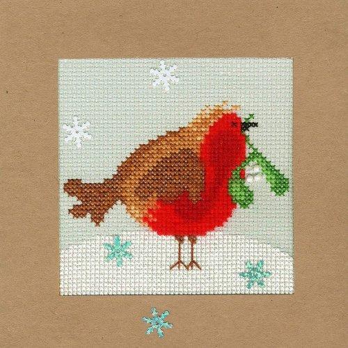 Bothy Threads Cross Stitch Kit - Christmas cards :   Snowy Robin XMAS14
