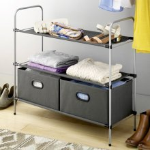 Top Home Solutions 3 Tier Free Standing Closet Organiser Wardrobe Clothes Shoe Storage Drawer Rack, 3 Fabric Shelves with 2 Collapsible Bins -Black