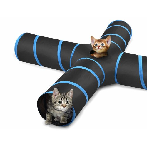Pawaboo Cat Tunnel, Premium 4 Way Tunnels Extensible Collapsible Cat Play Tunnel Toy Maze Interactive Tube Toy Cat House with Pompon and Bells for...