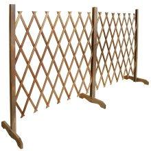TRELLIS - Solid Wood Expanding Double Garden Screen - Brown