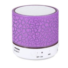 Hipipooo Mini LED Wireless Bluetooth Speaker Cracked Layer USB/TF Card/FM Music Sound Box Subwoofer with Colorful Light (purple)