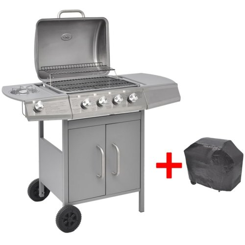 vidaXL Gas Barbecue Grill 4+1 Burners Silver