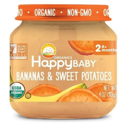 Happy Baby 318854 Stage 2 Banana Sweet Potato Clearly Crafted Baby Food in Jar, 4 oz - Pack of 12