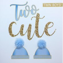 'Two cute' new twin boys card, hand finished with two blue pom poms