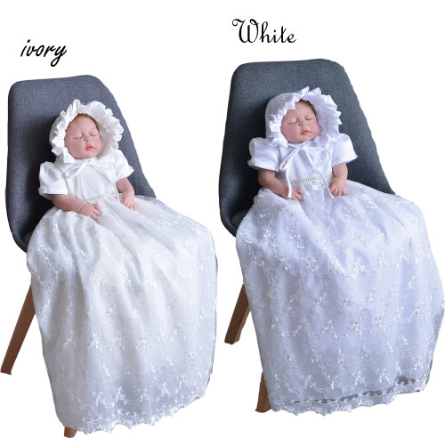 Cinda Baby Girls Lace Long Christening Gown With Bonnet