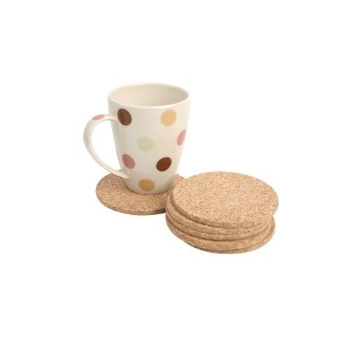 T&G FSC Certified Cork Round Coasters/Surface Protectors, Set of 6, 10 x 0.6 cm