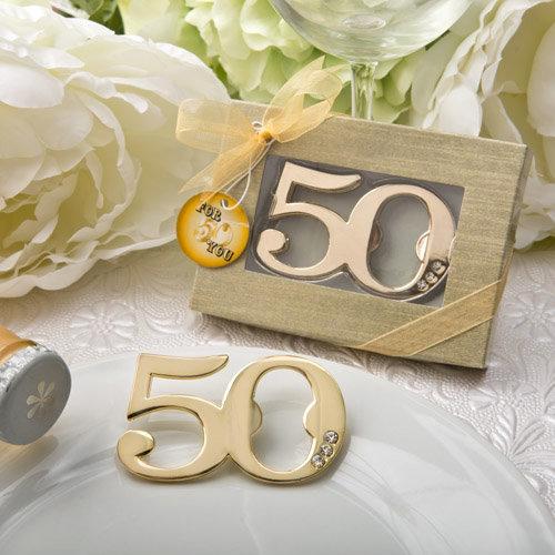 50th Anniversary/ Birthday  Design Golden Bottle Opener