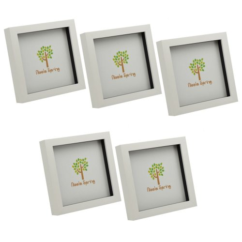 Nicola Spring White 6x6 Box Photo Frame - Standing & Hanging - Pack of 5