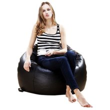 XXL EXTRA LARGE ROUND BEANBAG CHAIR BLACK BROWN LEATHER BEAN BAG BAGS GAMING POD
