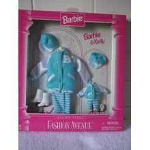 Barbie & Kelly Fashion Avenue Matchin Style Turquoise Letter Jackets, Pants and Hat (1996)
