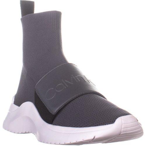 Calvin Klein Uni Stretch High Top Sneakers, Steel Greystone, 3 UK