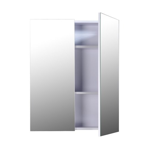Homcom Wall Mount Mirror Cabinet Wood Bathroom Storage Shelf Double Door