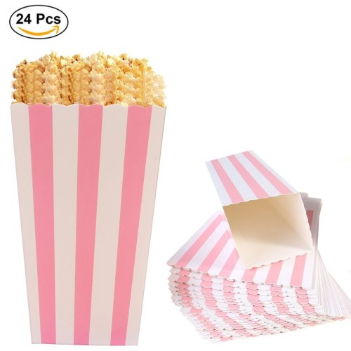 Ouinne Popcorn Boxes Bags, 24PCS Striped Paper Popcorn Containers Boxes Holder for Parties, Sweets, Popcorn, Kids, Gifts, Birthdays and Theaters...