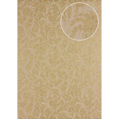 Atlas PRI-523-2 Baroque wallcovering wall shimmering beige olive-yellow 5.33 sqm