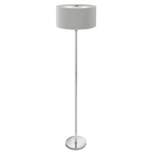 DRUM PLEAT - 3 LIGHT FLOOR LAMP, SILVER PLEATED SHADE, FROSTED GLASS DIFFUSER