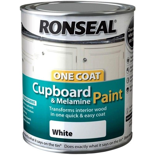 Ronseal One Coat Cupboard & Melamine Paint 750ml – Satin White