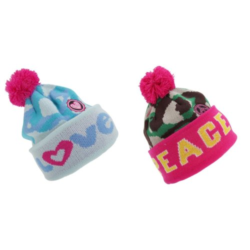 Childrens Girls Peace/Love Winter Bobble Hat