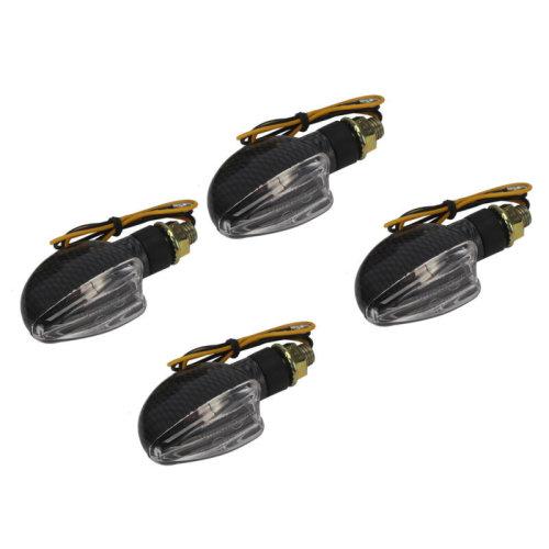 4x Spear Black Bulb Indicators Front & Rear Motorbike Motorcycle Clear Lens UK