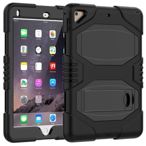 "iPad Case 9.7"" 2018/2017 Slim Heavy Duty Shockproof Rugged Case, Black"